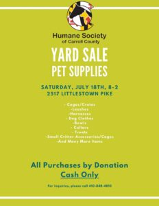 Pet Supply Yard Sale @ Humane Society of Carroll County