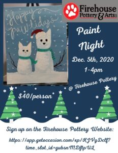 "Sip-N-Paint ""Pawlidays"" Fundraiser @ Firehouse Pottery 